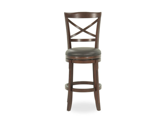 "Traditional 45"" X-Back Swivel Bar Stool in Brown"