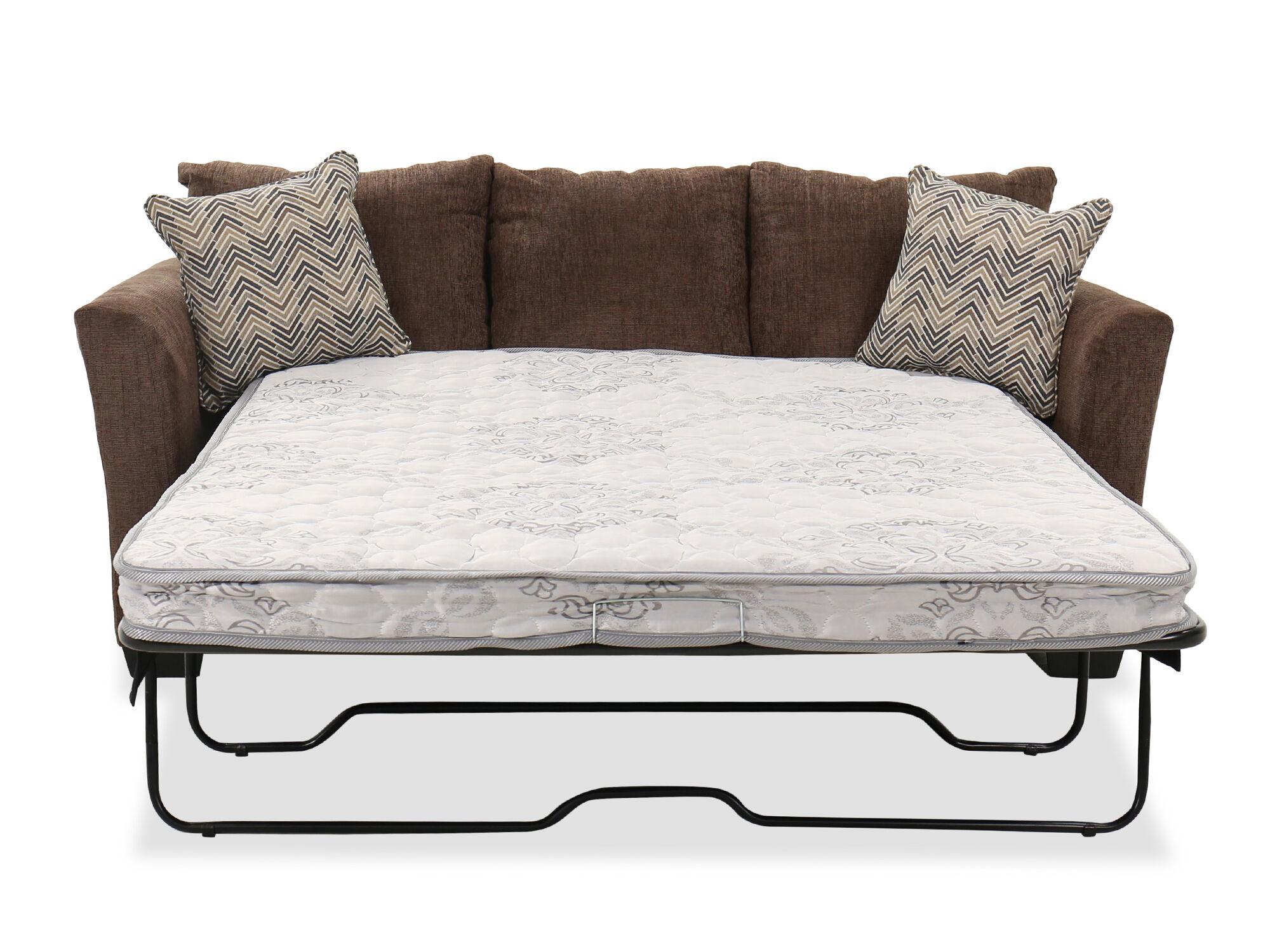 84 Casual Queen Sleeper Sofa In Brown, Brown Fabric Sleeper Sofa