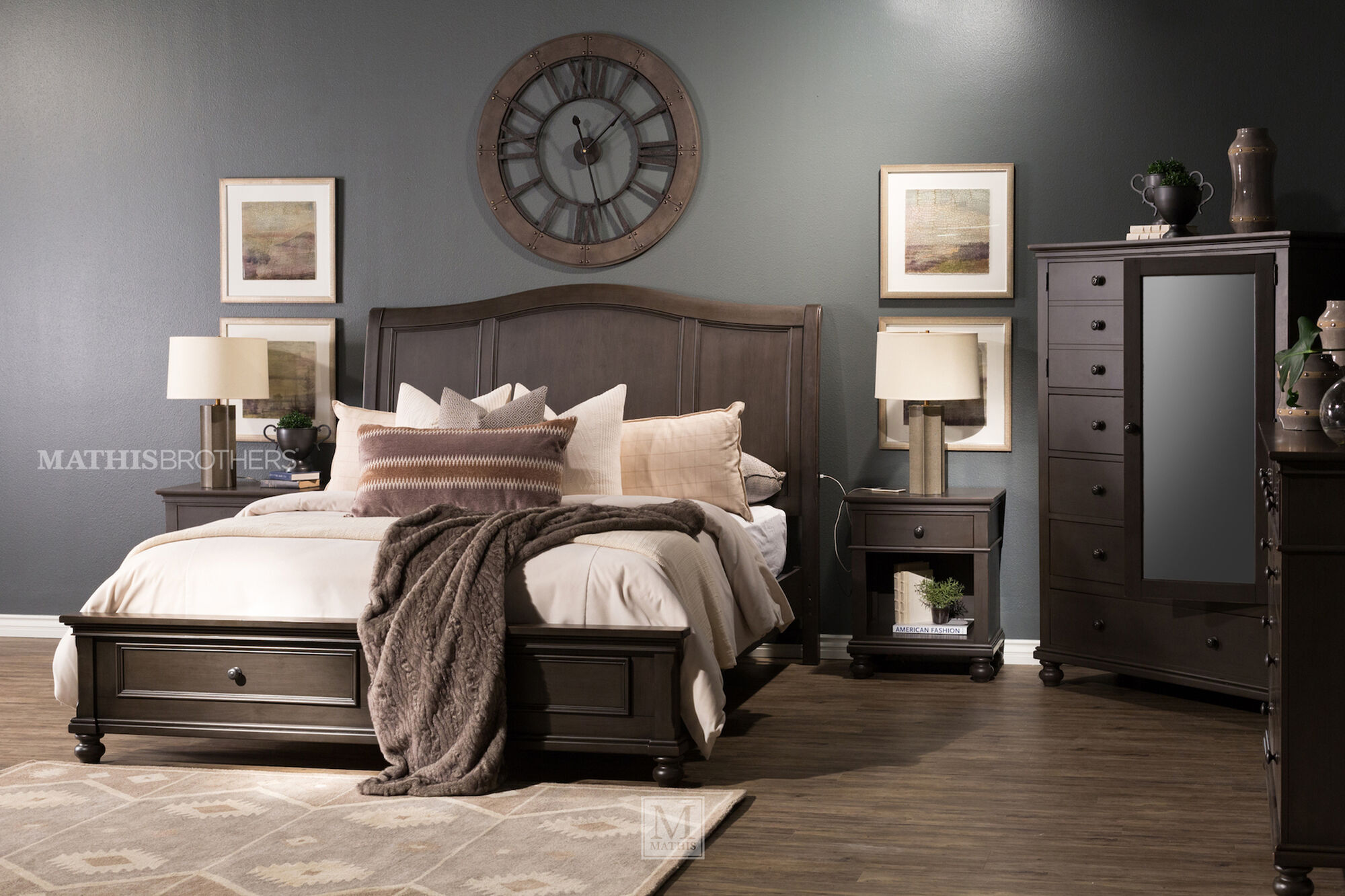 """30"""" Transitional Two-Drawer Nightstand In Peppercorn Gray"""