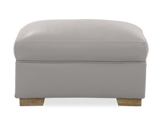 Casual Leather Ottoman in Grey