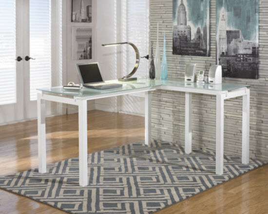 "61"" Glass-Top Contemporary L-Desk in White"
