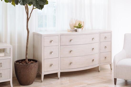 "37"" Modern Nine Drawer Dresser in Cerused Linen"