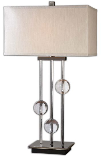 Crystal Ball-Accented Three-Column Lamp in Chrome