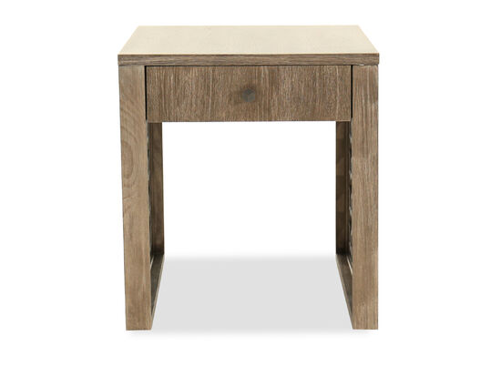 Contemporary Trellis-Patterned One-Drawer End Table in Oak