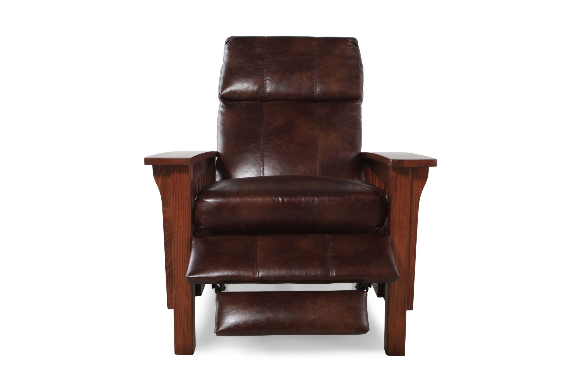 High Leg Bustle Back Recliner In Brown Mathis Brothers Furniture Jpg  1400x933 Brown Leather Chair Mission