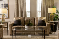 "Leather Double Cushion 82"" Sofa in Beige"