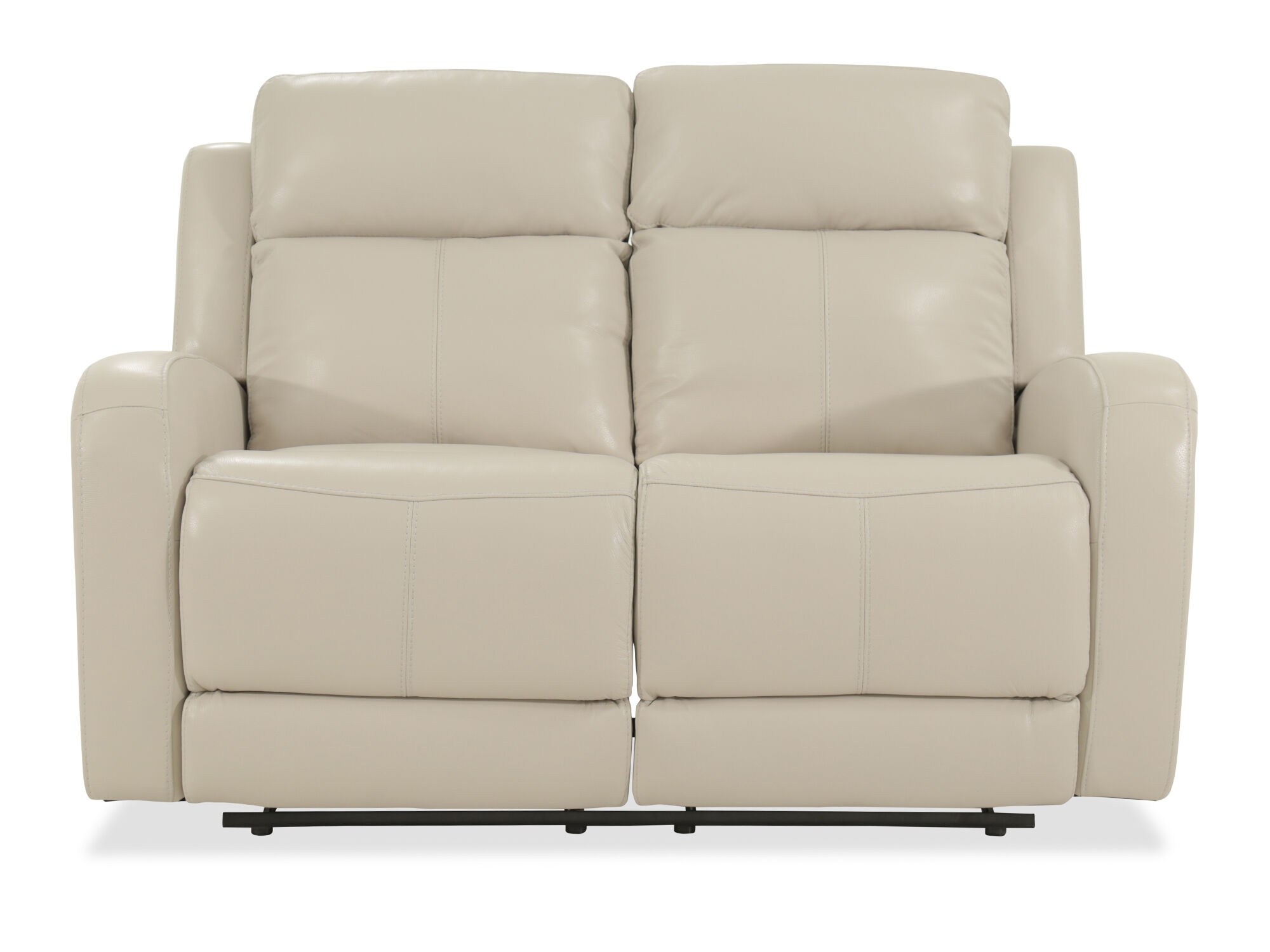 Power Reclining Leather 60 Loveseat In Cream Mathis Brothers