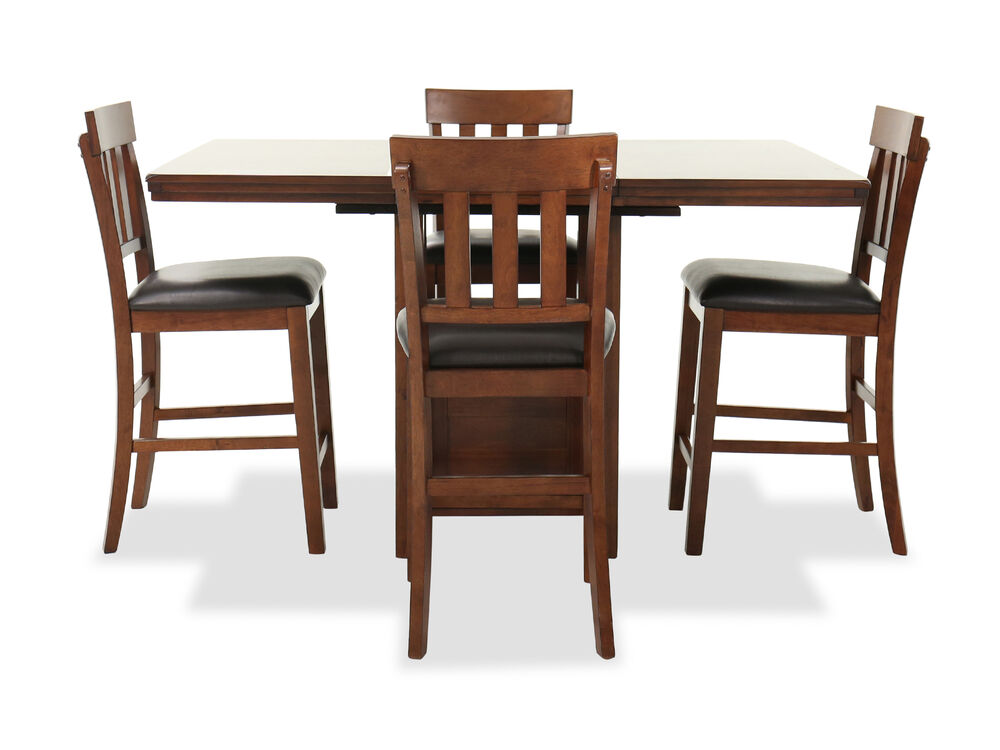 Casual Five-Piece Pub Table and Barstool Set in Brown