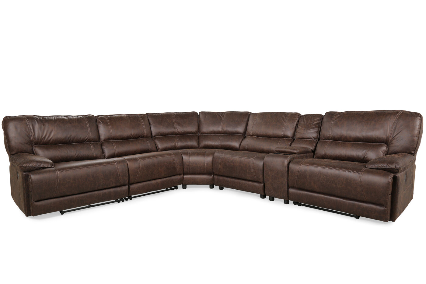 Six piece traditional reclining sectional in cognac for Traditional sectional