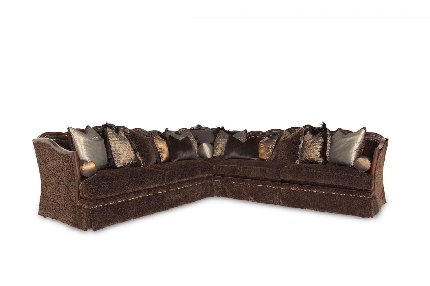 Three piece traditional 215quot leaf patterned sectional in for 3 piece brown sectional sofa