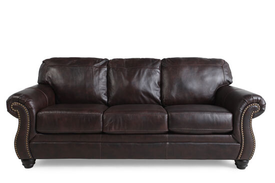 "Traditional Rolled Arm 89"" Sofa in Walnut"