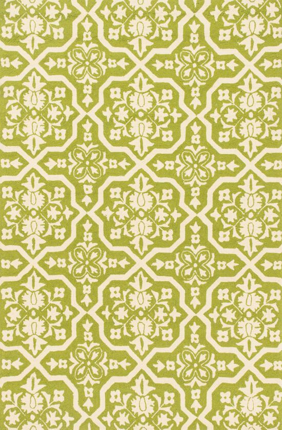 "Indoor/Outdoor 3'-6""x5'-6"" Rug in Peridot/Ivory"