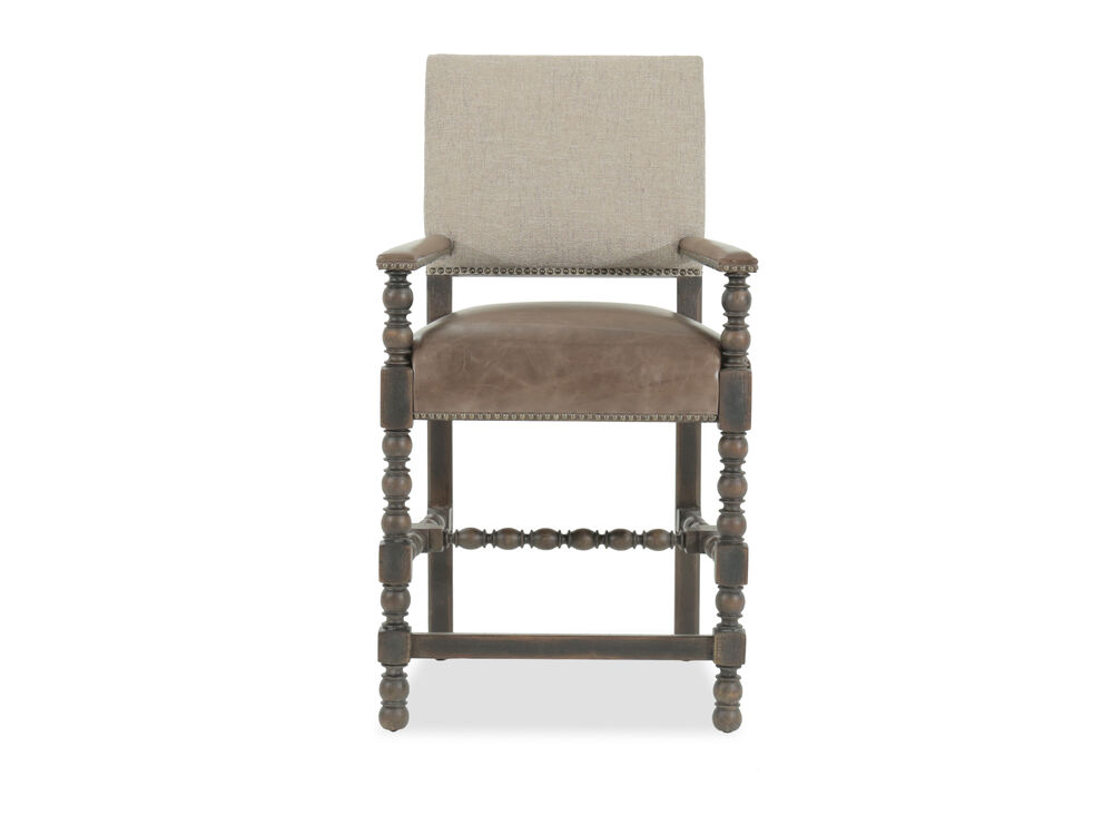 "Traditional 42"" Nailhead Accented Bar Stool in Brown"
