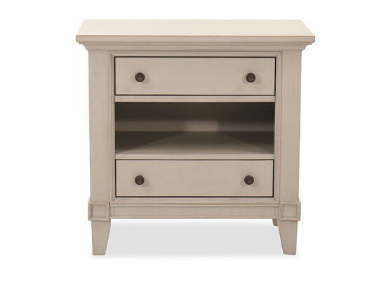 29'' Two-Drawer Transitional Nightstand in Gray