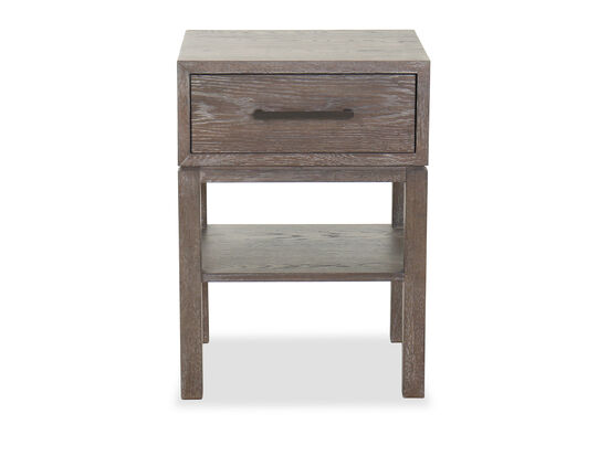 "28"" One-Drawer Contemporary Night Table in Cerused Gray"