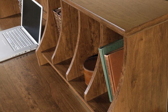 """59"""" Contemporary Two-Drawer Computer Desk with Hutch in Auburn Cherry"""
