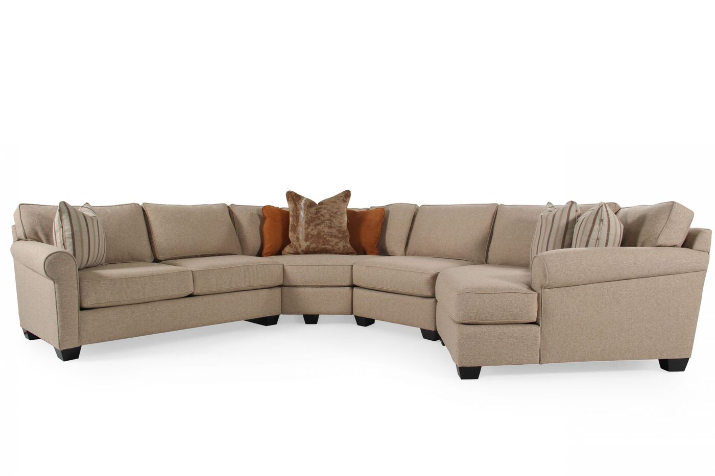 Four piece contemporary sectional in sand mathis for 4 living furniture