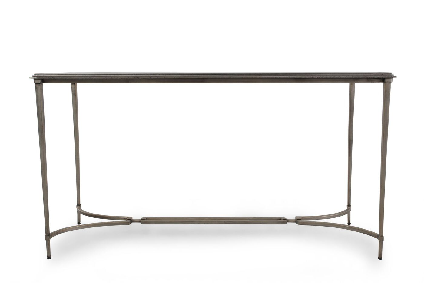 Glass top contemporary console table in silver mathis for Sofa table vs console table