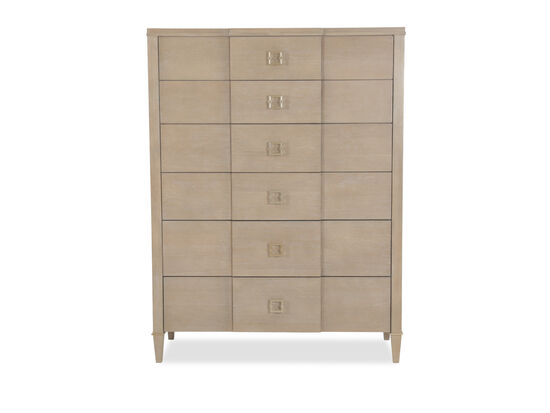 "56"" Six-Drawer Transitional Chest in Medium Brown"
