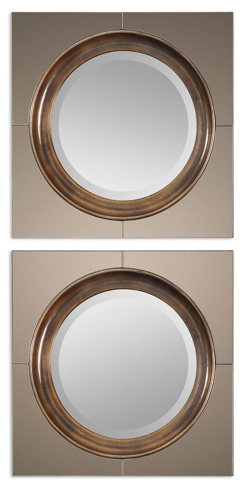 9fccfe330c76 20   Contemporary Square Frame Round Accent Mirror in Antiqued Gold ...