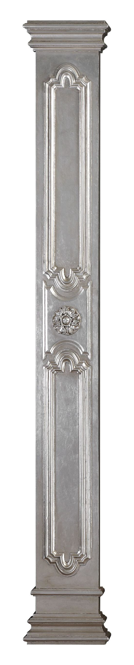 Leaf Medallion Wall Column in Antique Silver Leaf