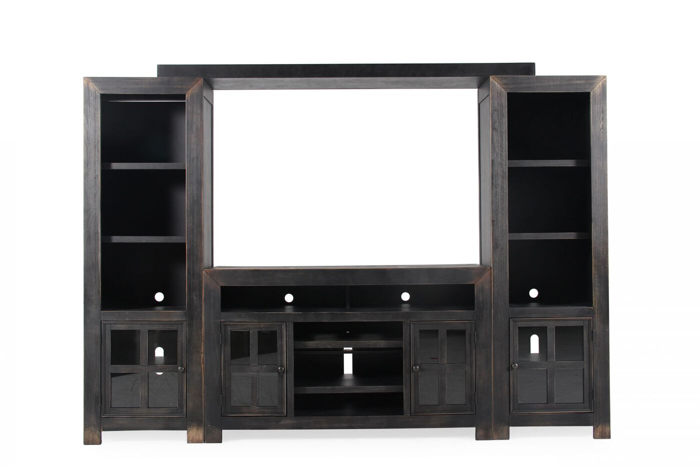 Four Piece Casual Wall Unit In Vintage Weathered Black Mathis Brothers Furniture