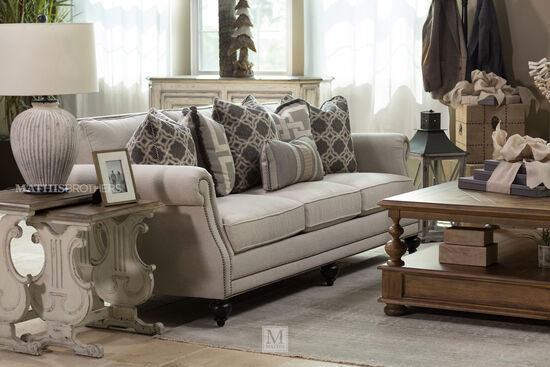"Nailhead-Accented 92.5"" Rolled Arm Sofa in Gray"