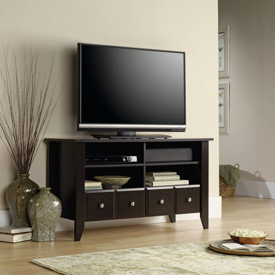 Two Drawer Transitional Panel TV Stand in Dark Brown