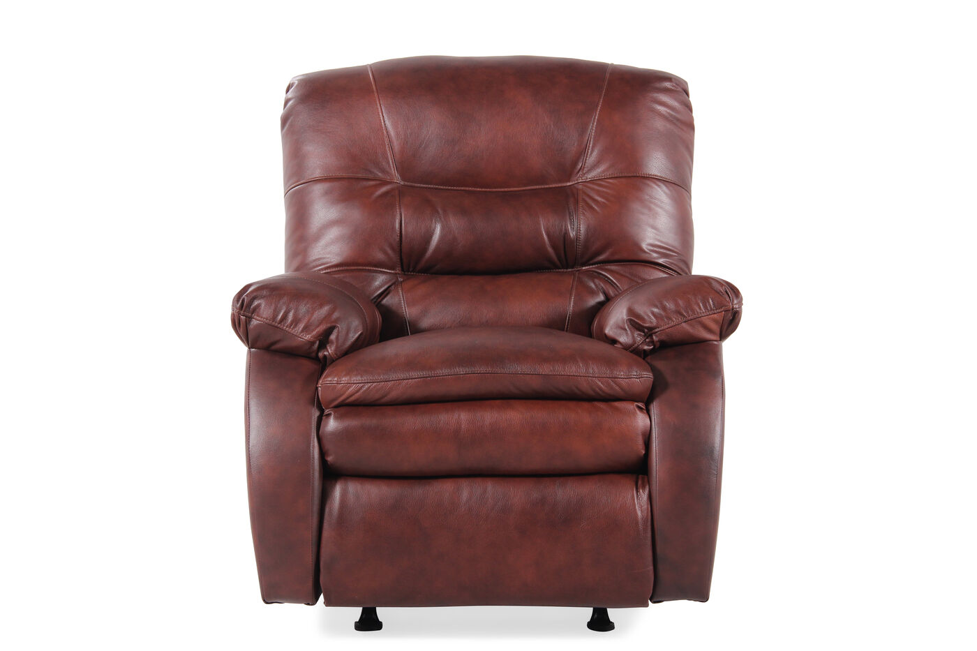 Leather 37 Quot Rocking Recliner In Saddle Brown Mathis