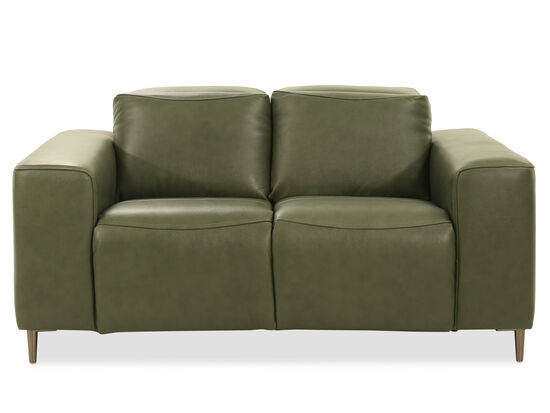 Leather Power Loveseat in Olive