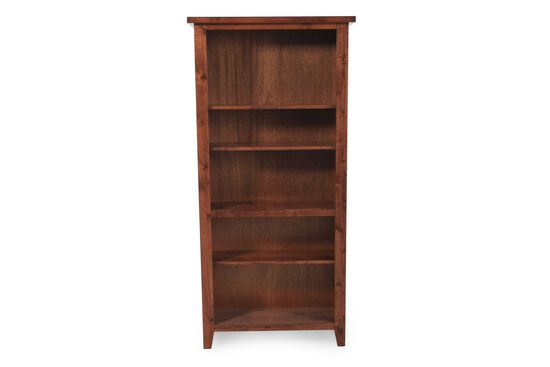 Casual Adjustable Shelf Open Bookcase in Brown