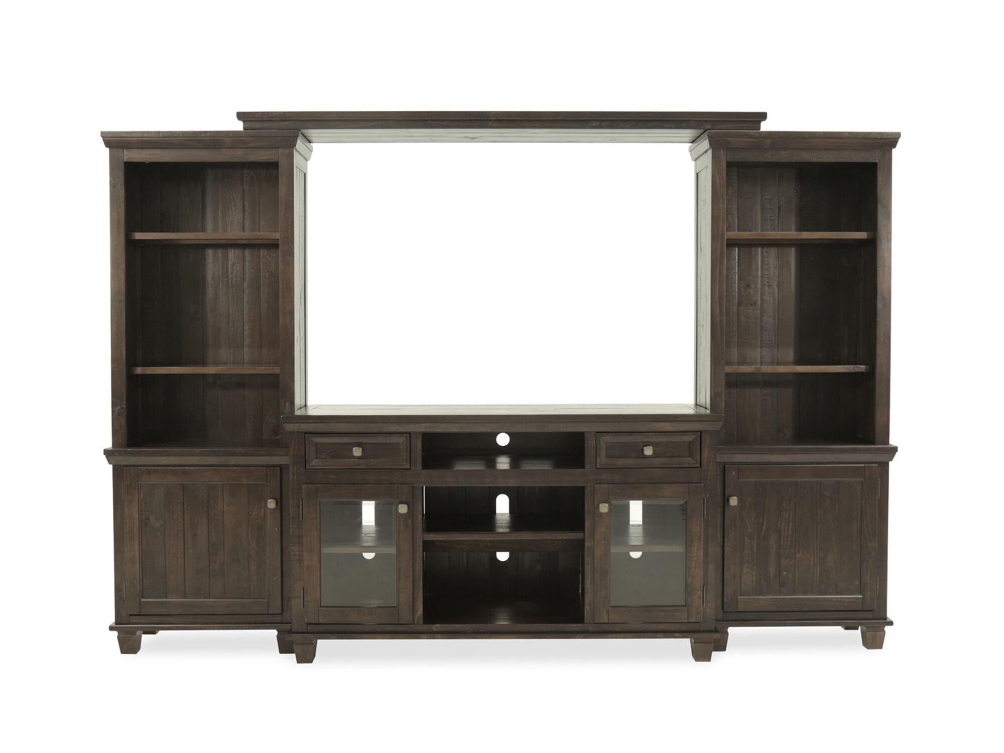 Four Piece Solid Wood Entertainment Center In Dark Brown