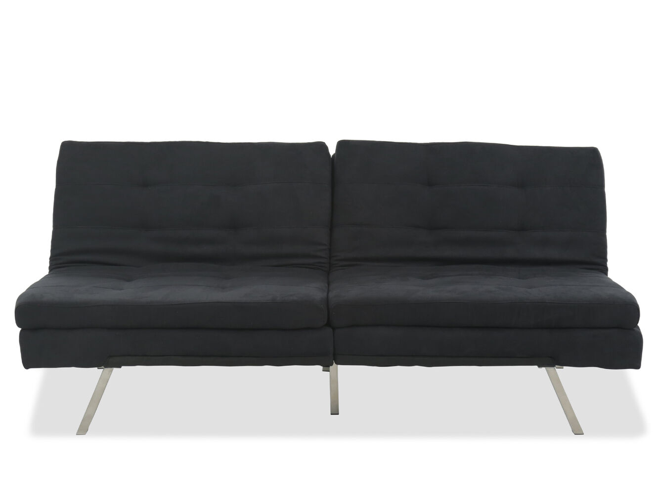 Microfiber Transitional 71 Convertible Sofa In Black Mathis Brothers Furniture