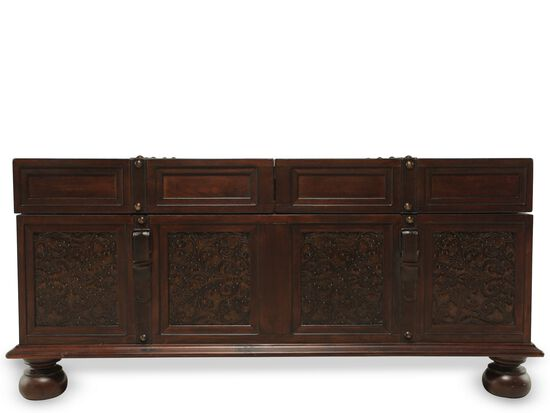 Scroll-Detailed Handwiped Cocktail Table in Brown