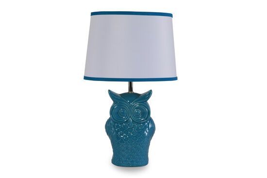 Casual Owl Table Lamp in Blue