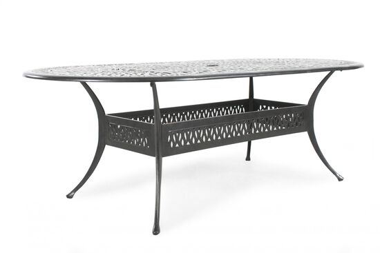 Lattice Patterned Aluminum Oval Tablein Black