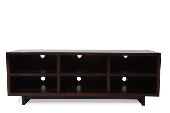 Six-Open Compartment Contemporary Console in Dark Walnut