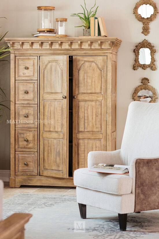 """72"""" Modern Paneled Door Chest in Cracked Wheat"""