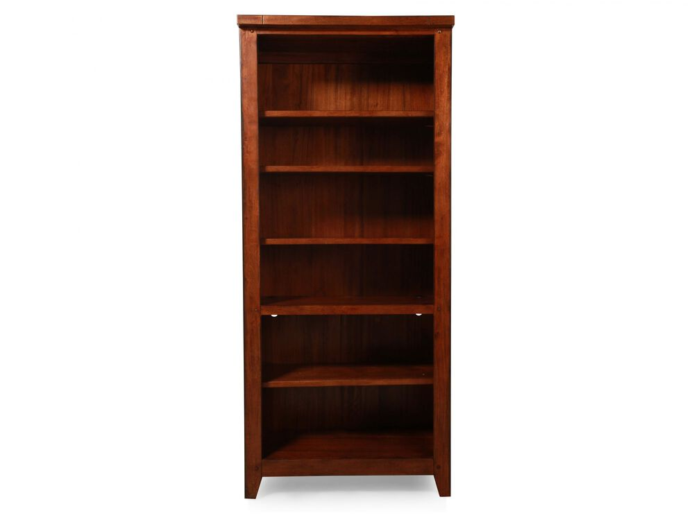 Country Adjustable Shelf Open Bookcase in Saddle Brown