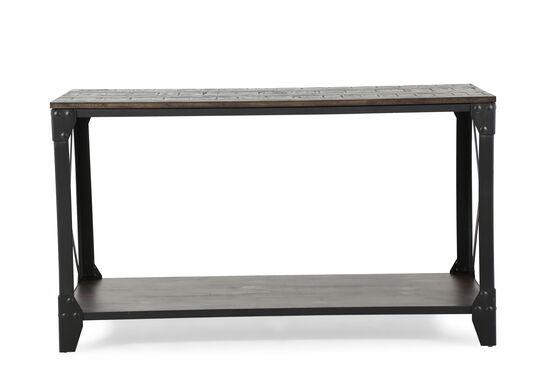 X-Braced Contemporary Sofa Table in Gunmetal Black
