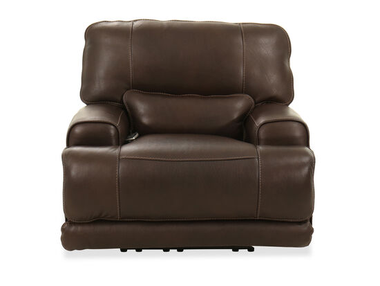 Power Headrest Leather Recliner in Walnut Brown