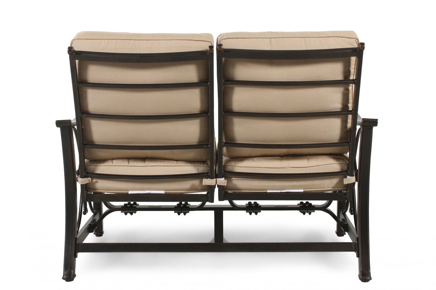 Aluminum Patio Loveseat With Cushion In Beige Mathis Brothers Furniture
