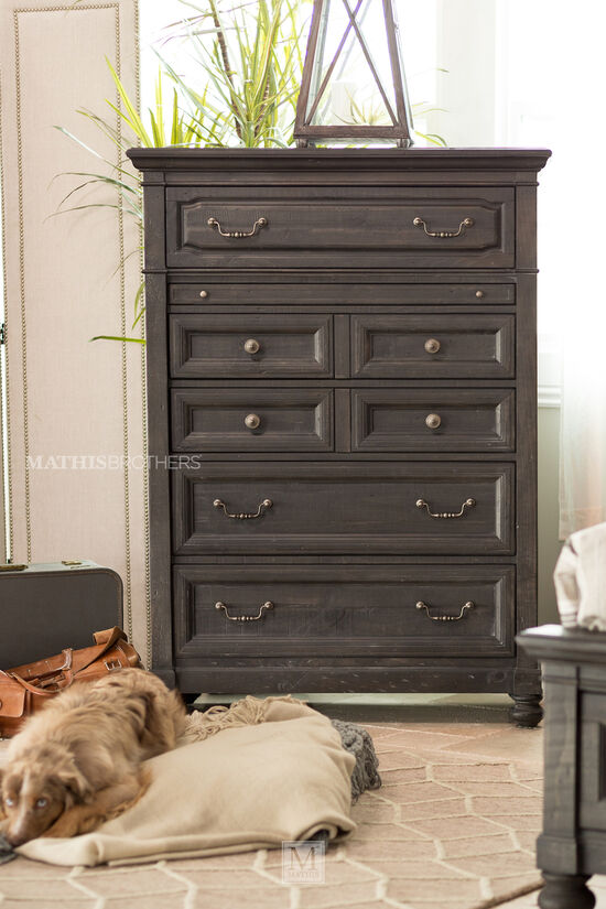 "58"" Transitional Six-Drawer Chest in Anvil Black"