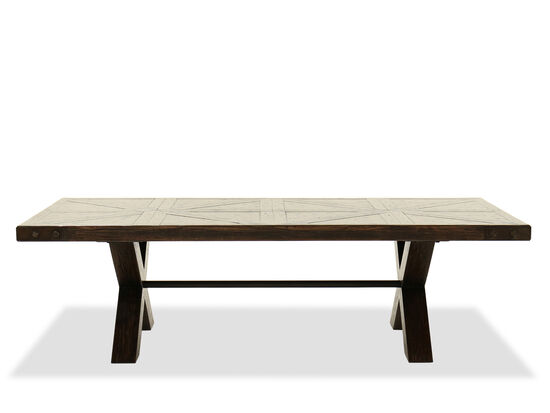 Distressed Rectangular Casual Cocktail Table in Dark Walnut