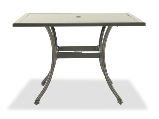 Angled Leg Aluminum Square Dining Tablein Brown