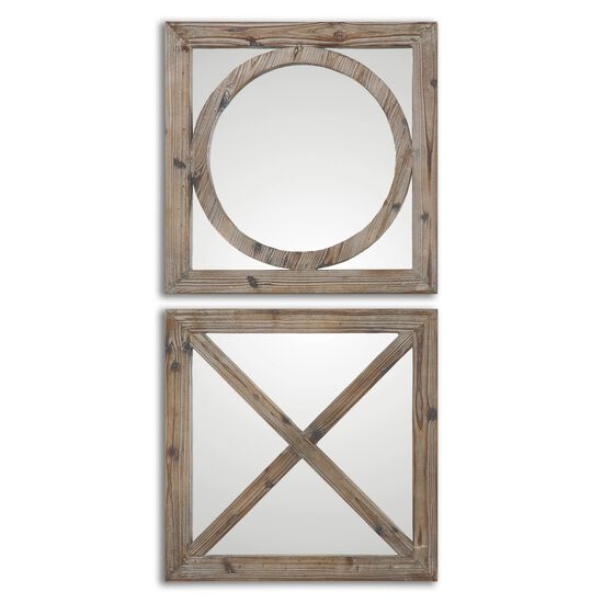"Two-Piece 18"" Geometric Accent Mirrors in Light Gray"