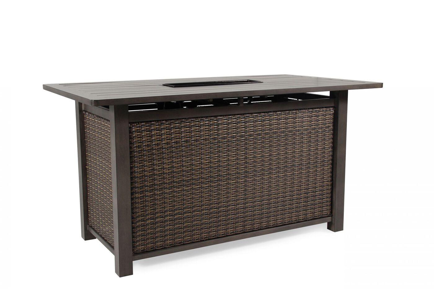 Rectangular contemporary bar height fire table in brown mathis rectangular contemporary bar height fire tablenbsp watchthetrailerfo