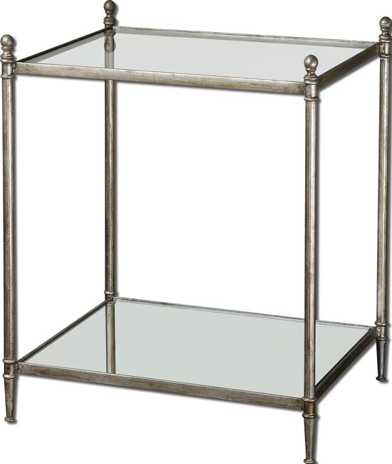 Mirrored Glass End Table in Antiqued Silver Leaf