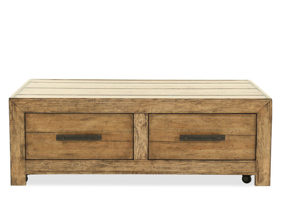 Rectangular Casual Cocktail Table in Medium Pecan