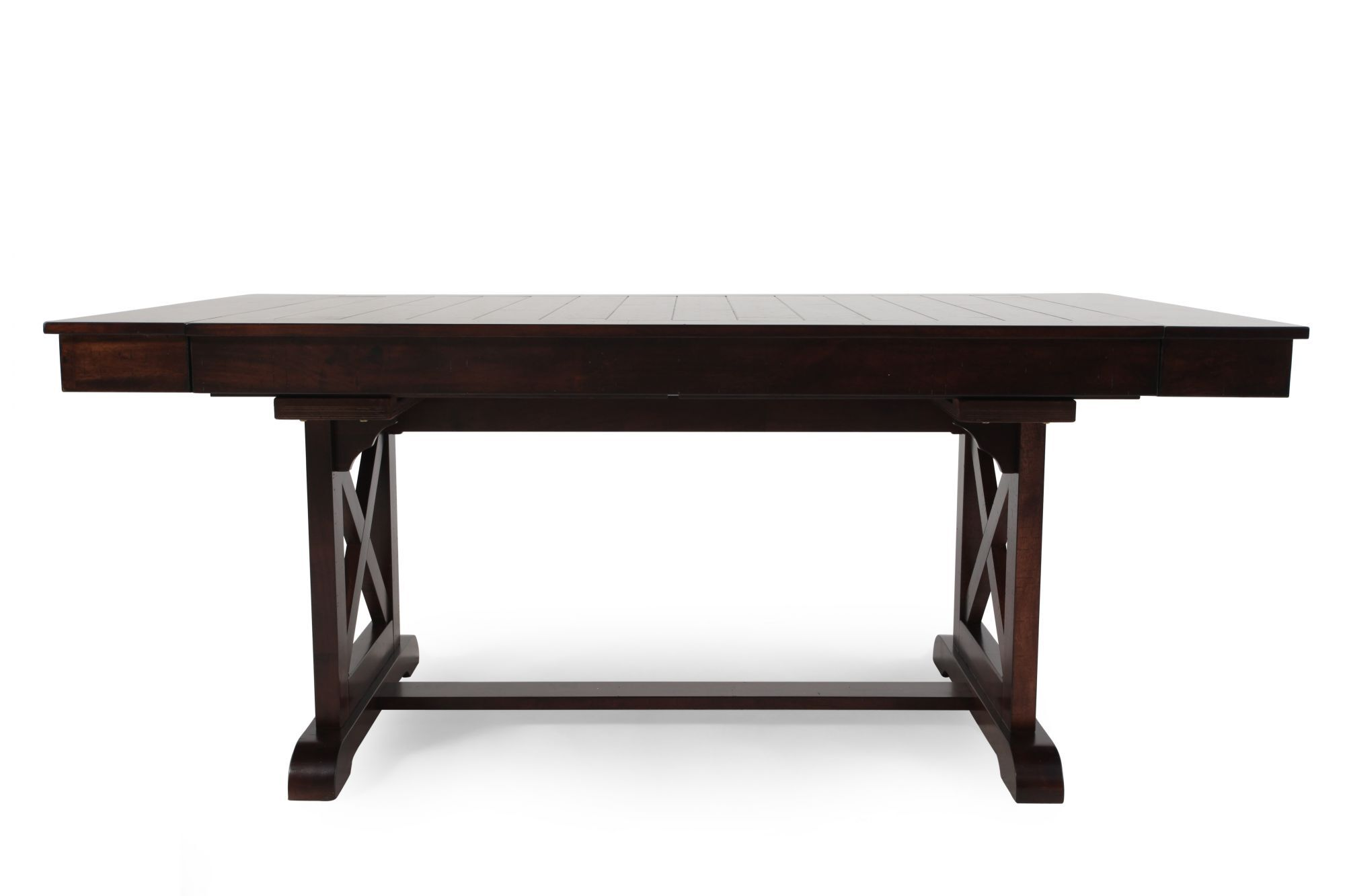 Traditional 71u0026quot; To 95u0026quot; Trestle Dining Table With Butterfly Leaves  ...